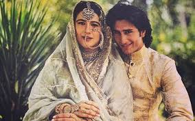 Saif Ali khan with his first wife, Amrita Singh.