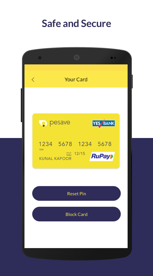 Free Platinum RUPAY CARD (Pesave) ATM withdrawal also available