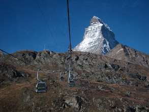 Photo: We'll start our hike from the Schwarzsee station (8474 ft 2583 m), visible at the top of the ridge.