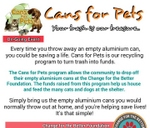 Cans for Pets (On-going event) : Change for the Better Foundation