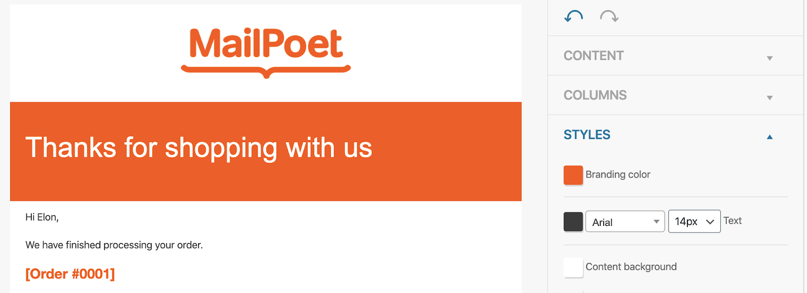 Screenshot of the MailPoet logo in the email template, and the header area in orange