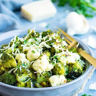 Garlic Parmesan Roasted Broccoli and Cauliflower Recipe