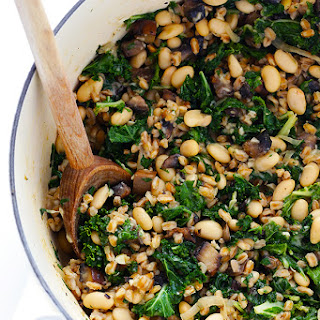 Creamy Farro with White Beans and Kale.