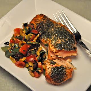Grilled Salmon with Mediterranean Salsa.