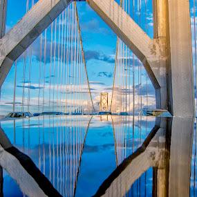Reflect into Heaven's Gate by Jamie Valladao - Buildings & Architecture Bridges & Suspended Structures ( sf bay bridge, heaven, reflection of bridge, heaven's gate, bridge, san francisco,  )