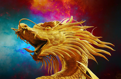 dragon-figurine-Thailand - A golden dragon figurine in Thailand.