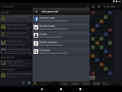 Wordfeud - screenshot