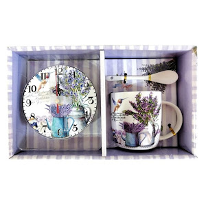 Set ceramica cu desen lavanda, cana, lingura, ceas si cutie cu maner