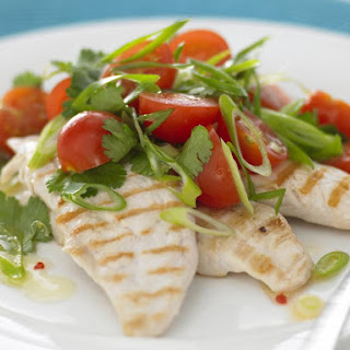 Grilled Chicken with Tomato Cilantro Salad.