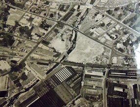 Photo: An aerial shot of Torrington several years later shows damage from the flood that still lingered.