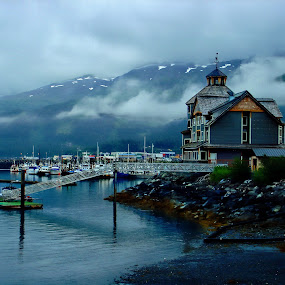 Harbor with mountains by Jon Radtke - City,  Street & Park  Vistas ( radtke66, harbor with mountains )