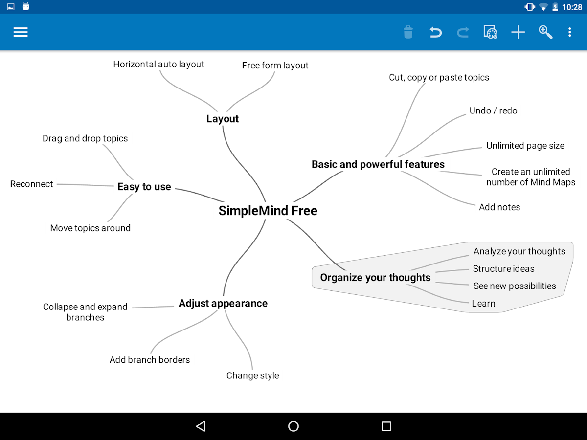 SimpleMind Free mind mapping- screenshot