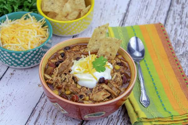 A Serving Of Slow Cooker Chicken Taco Chili.