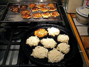 Photo: pan-frying daikon radish cakes