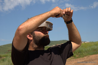 Photo: Georgy's Photo: Matt counts mites (check out that headgear)