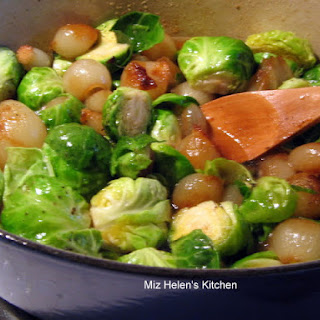 Pearl Onion and Brussels Sprouts Saute