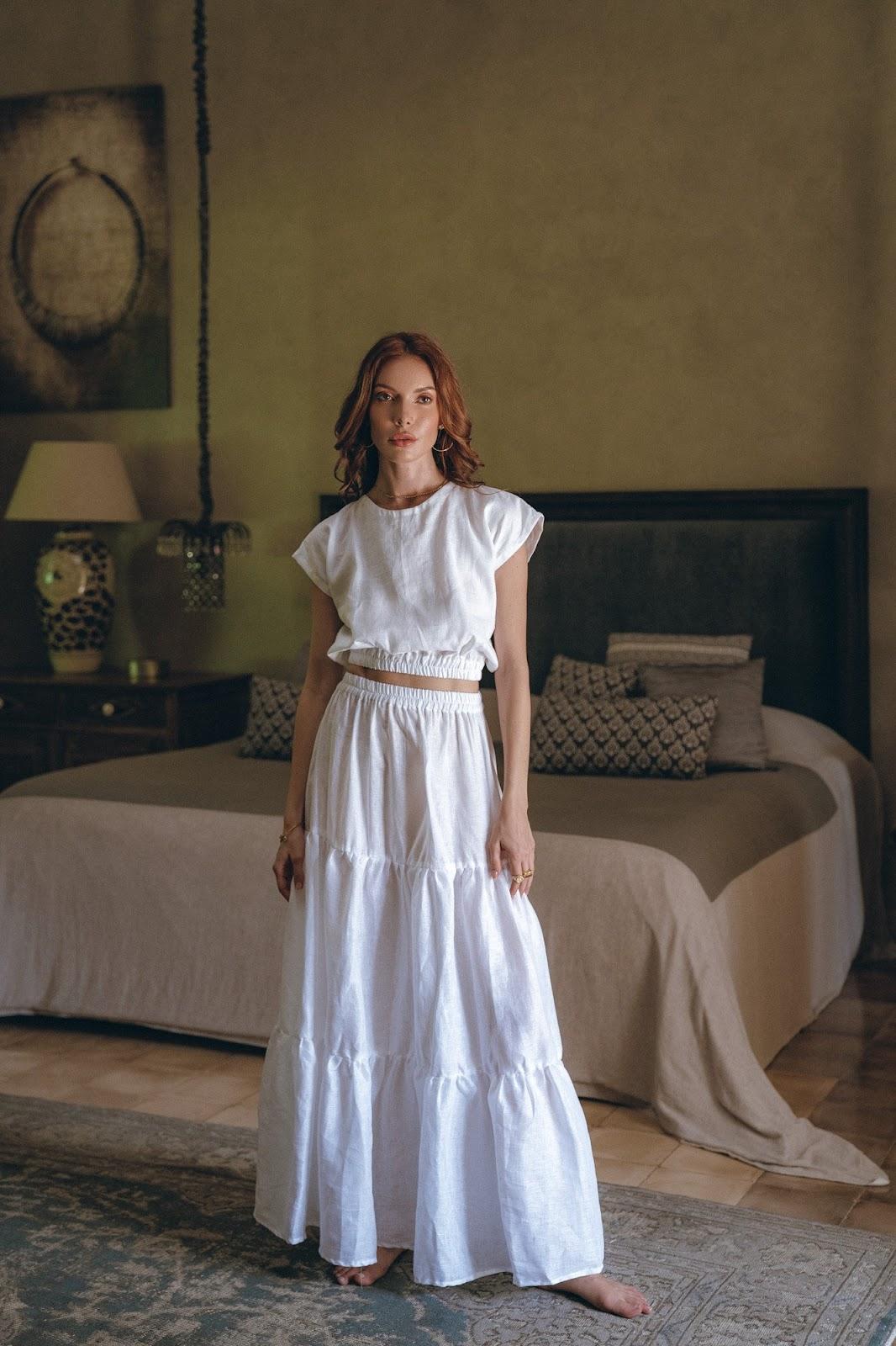 Luna Skirt Set in White, Monaco Pants in Oatmeal, Roma Top in Oatmeal