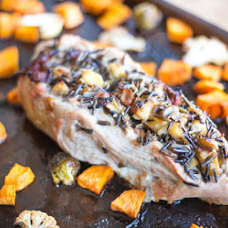 Bacon, Apple, and Wild Rice Stuffed Pork Tenderloin.