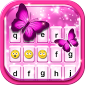 Pink Glitter Emoticon Keyboard