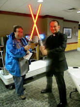 Photo: My first Lightsaber duel with a priest!