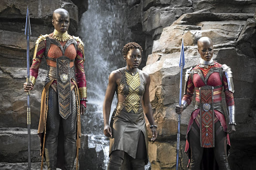 Lupita Nyong'o is flanked by Danai Gurira and Florence Kasumba, who are the Dora Milaje, the king's special forces in 'Black Panther'.
