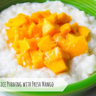 Coconut Rice Pudding with Fresh Mango.