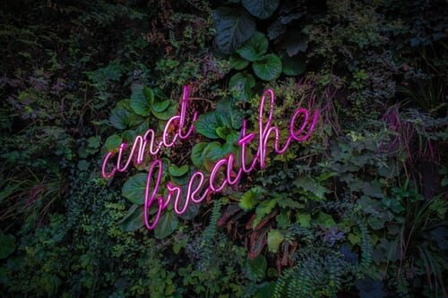 'and breathe' neon sign