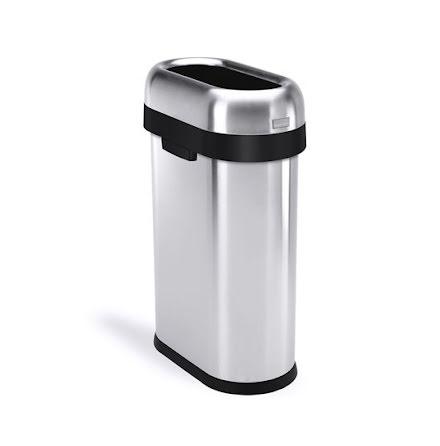Smal öppen soptunna 50 liter, borstat rostfritt stål