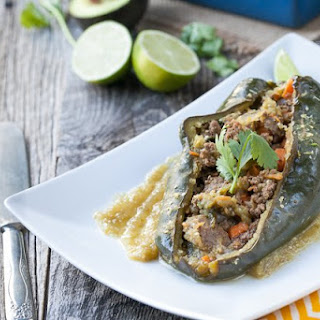 Enchilada Stuffed Peppers with Chile Verde Sauce.
