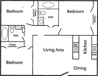 C1 Floor Plan (3 Bed, 2 Bath) | Tudor Crossing Apartments