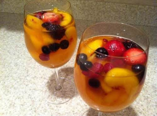 "White Peach Sangria ""This is a great, refreshing drink for a backyard..."