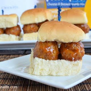 Cheddar Jack & Bacon Meatball Sliders.