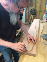 Photo: Jim placing the prepared wood pattern on Meranti wood blank.