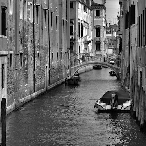 Shadows by Eugen Opritescu - Black & White Buildings & Architecture ( italian, bright, street, travel, yellow, architecture, house, attraction, venetian, sky, grand, rialto, adriatic, lagoon, painted, ponte di rialto, tourism, landmark, tourist, gondolier, venice, bridge, day, town, reflection, europe, contrasting, colorful, vivid, island, sight, gondola, remarkable, variegated, veneto, cloudy, italy, water, building, beautiful, romantic, sea, boat, canal, isle, blue, summer, cloud, channel, river )