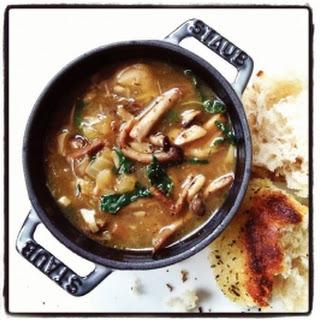 Mushroom and Kale Soup.