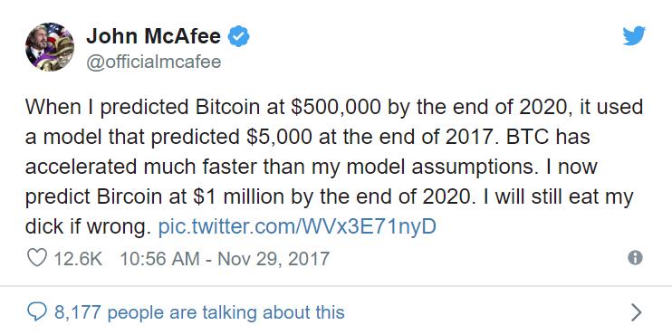 Sur Twitter, Mcafee explique manger son sexe si le Bitcoin n'atteint pas les 1 millions de dollars avant la fin de l'année 2020.
