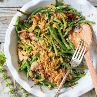 Creamy Green Bean Casserole with Bacon and Mushrooms.