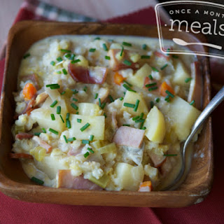 Slow Cooker Canadian Bacon and Potato Chowder.
