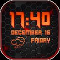 Black Weather and Clock Widget icon