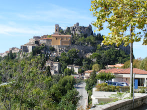 Photo: Our third day begins in Eze, the most popular (and therefore probably most commercial) of the Cote d'Azur perched villages. Here is the view from the parking lot, up to the chateau ruins (destroyed by Louis XIV's troops in 1706) at the top.