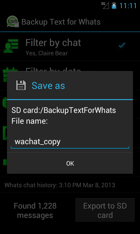 Backup Text for Whats- screenshot