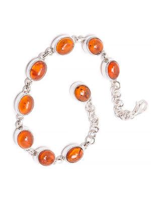 Bärnsten armband med silverlänkar