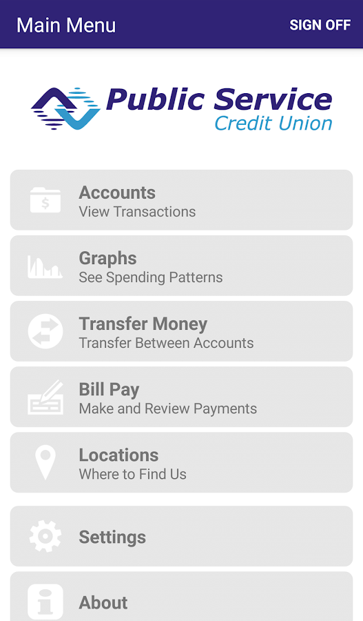 Public Service Credit Union- screenshot