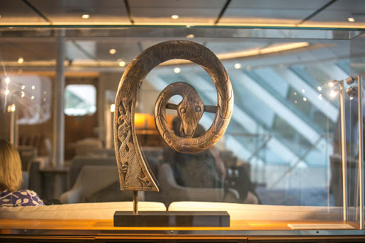 A serpent figurine in the Explorers' Lounge of Viking Sun.