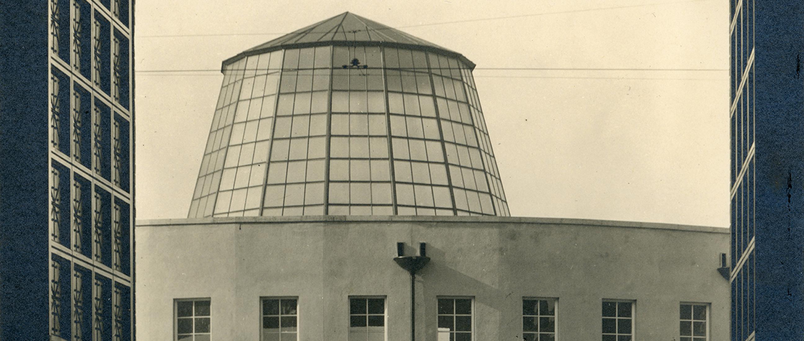 Rotunde von der Postverwaltung im Osten des Areals aus gesehen, ca. 1929 © Museumsstiftung Post und Telekommunikation