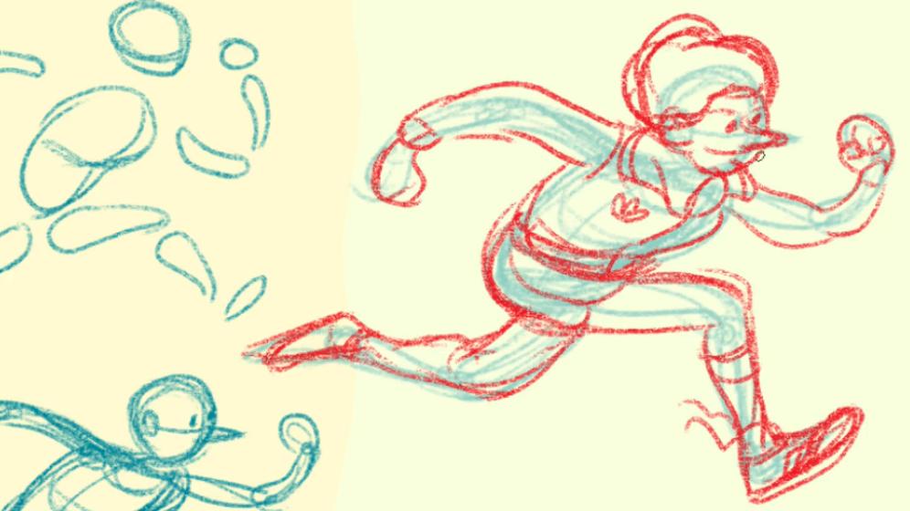people running sketch