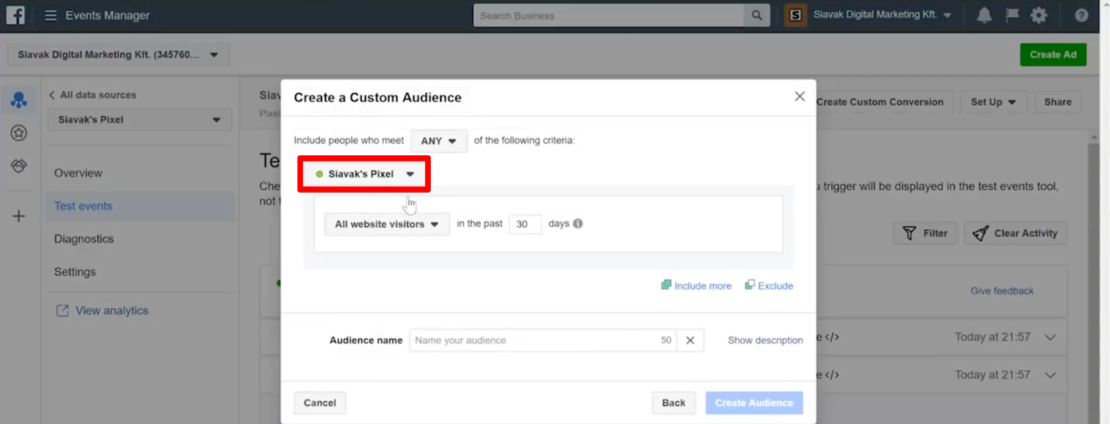 Choose the correct pixel that is tracking your new events for your custom audience
