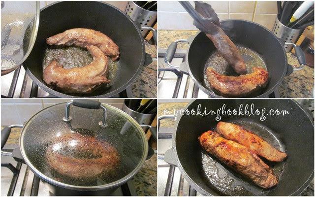 Свинско филе мариновано в балсамов оцет, зехтин, чесън и дафинов лист