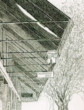 Photo: Awnings of Market Square . pen and ink . 8x10