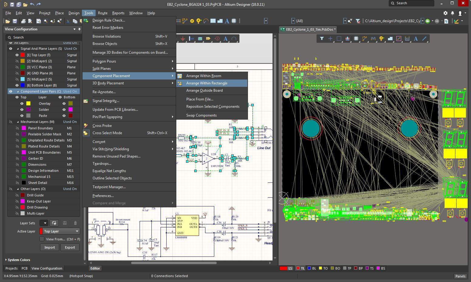 """Bildschirmfoto in AD mit der ausgewählten Layout-Funktion """"Arrange Within Rectangle"""